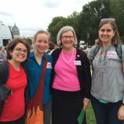 Staff Associates Emily Harder, Elizabeth Hardt, and Mallory Naake with NETWORK Executive Director Sr. Simone Campbell