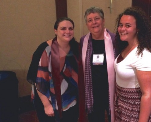 WATER colleagues Cathy Jaskey, Mary E. Hunt, and Jacqueline Small enjoying the meeting of the Women's Ordination Conference & Women's Ordination Worldwide in Philadelphia, 9/20/15
