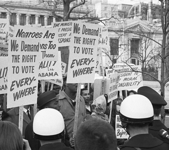 African American demonstrators outside the White House